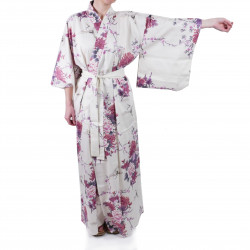 Japanese white kimono for women flying crane and peony
