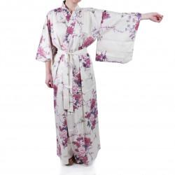 Kimono de algodón blanco japonés, TSURU PEONY, grulla y peonía
