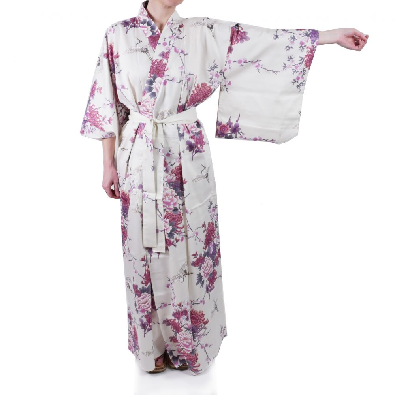Japanese white kimono for women flying crane and peony