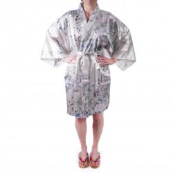 Hanten japonés kimono blanco satinado, UTAUME, poesía y flores