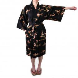 Japanese traditional black cotton happi coat kimono golden plum for ladies