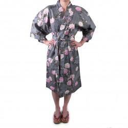 happi kimono traditionnel japonais noir en coton fleurs de cerisiers sakura sur motifs nuages pour femme