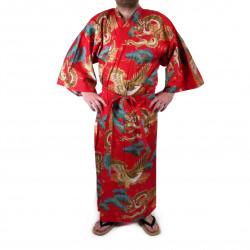 Japanese traditional red cotton yukata kimono dragon and pines for men