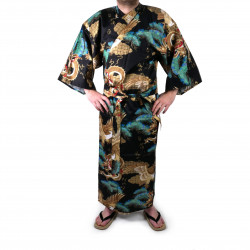 Kimono yukata japonés en algodón negro, RYÛMATSU, dragón y pinos