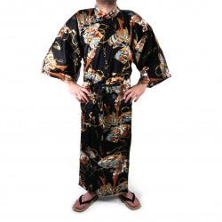 kimono yukata giapponese nero in cotone, SHONZUIRYÛ, samuraï