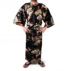 Kimono yukata japonés en algodón negro, SHONZUIRYÛ, samuraï