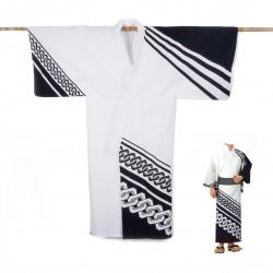 Yukata prestigio de algodón japonés para hombre, KUROGUSARI, blanco