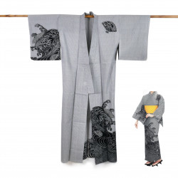 Japanese cotton prestige yukata for women NAMIZENSU black