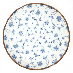 Japanese round ceramic plate tsuru-karakusa