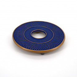 Japanese cast iron trivet, ARARE, blue and gold