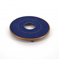 Japanischer Gusseisen-Untersetzer, ARARE, blau gold