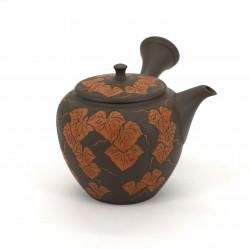 Japanese kyusu brown teapot engraving leaves MANOSHUN