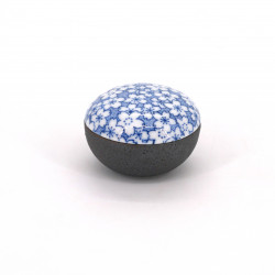 japanese small black box in ceramic Ø4,7cm wave patterns SEIGAIHA