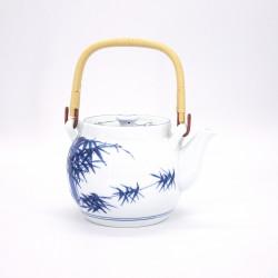 japanese white ceramic teapot with handle bamboo SHIROTAKE