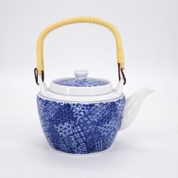 tetera azul japonesa con asa en ceramica patchwork GOJO