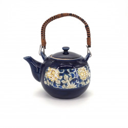 théière kyusu japonaise en terre tokoname bleue fleurs KARAKUSA