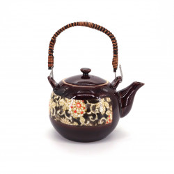 japanese red ceramic teapot with handle flowers KARAKUSA