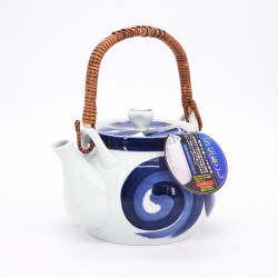 japanese blue teapot xith handle in ceramic whirlpool UZU