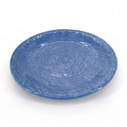 medium-sized round plate blue SETSUREI MIGIME