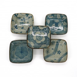 set of 5 small Japanese square plates, KOZOME HANA, blue patterns