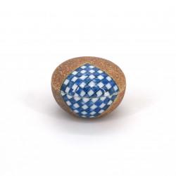 piccola scatola marrone pillbox ceramica, ICHIMATSU, scacchiera