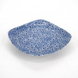 Japanische quadratische Keramikplatte, SAKURA MOMIJI, blau