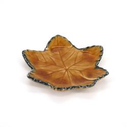 petite assiette japonaise en forme de feuille, MOMIJI, marron