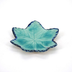 petite assiette japonaise en forme de feuille, MOMIJI, bleue