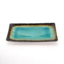 Plato cerámico rectángulo japonés, LAGUNA, azul turquesa.