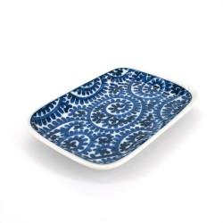 kleiner rechteckiger japanischer Teller, TAKO KARAKUSA, blau