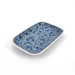 Plato rectangular japonés pequeño, KARAKUSA, azul