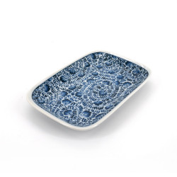 small Japanese rectangle plate, KARAKUSA, blue