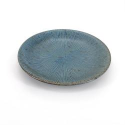 Plato cerámico redondo japonés, SENDAN, azul y gris.