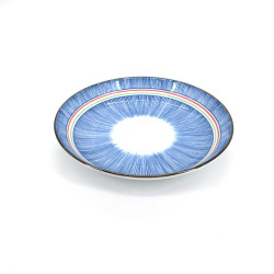 Japanese blue ceramic round plate, TOKUSA, colorful lines