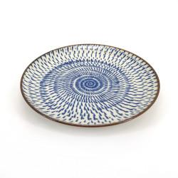 round japanese ceramic plate, OFUKE UZU, blue