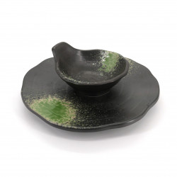 Japanese round plate with bowl, ISOBE, black and green