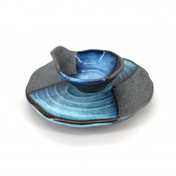 assiette ronde japonaise TEMPURA avec bol assorti, MOKUME, bleu