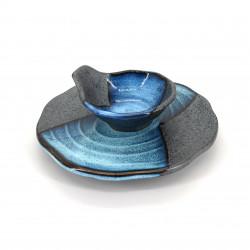 Plato redondo japonés con tazón, MOKUME, azul
