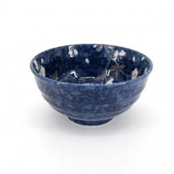 tazón azul de sopa japonés de cerámica, HIWA, flores