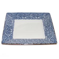 piatto quadrato giapponese, AI KARAKUSA, blu