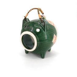 Terracotta table ornament, BUTA MIDORI, green pig
