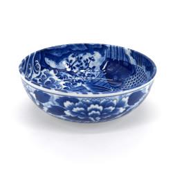 bol évasé bleu japonais en céramique, KOI, carpe