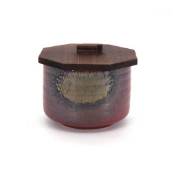 Japanische rote Keramikschale mit Holzdeckel, IGA