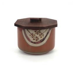 Cuenco de cerámica japonés con tapa de madera, MARUMON, castaño