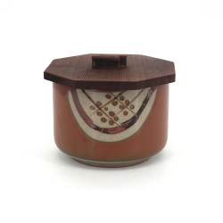 Japanese ceramic brown bowl with wooden lid, MARUMON