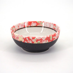 Japanese ceramic red rice bowl, HANAKINCHAKU, sakura flowers