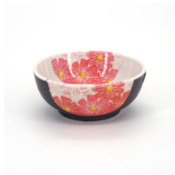 Japanese ceramic white rice bowl, HANAKINCHAKU, sakura flowers