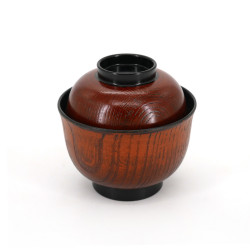 Japanese resin bowl with lid, MOKUME, Brown