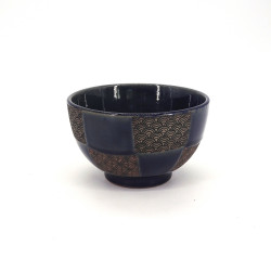 Japanese blue bowl checkerboard patterns SEIGAIHA wave
