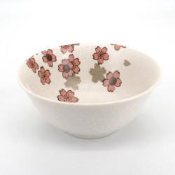 cuenco blanco de ramen en ceramica, SAKURA, flores